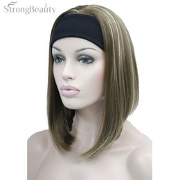 $enCountryForm.capitalKeyWord NZ - Strong Beauty Half Ladies' 3 4 Wig With Headband Straight Synthetic Capless Full Hair Women Wigs 10Colors