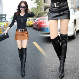 InsIde fashIon desIgn online shopping - New design fashion women s sexy high waist with belt sashes PU leather short skirt inside safety shorts culottes boot cut shorts SMLXLXXL