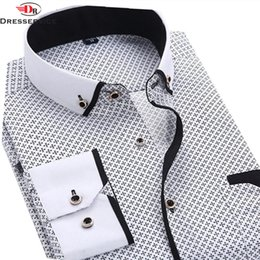 Casual Shirts Smart Fashion Print Casual Men Long Sleeve Shirt Polka Dot Fashion Pocket Design Fabric Soft Comfortable Men Dress Slim Fit Style Men's Clothing