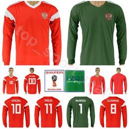 837c6378f Men Soccer Russia Long Sleeve Jersey 2018 World Cup 6 Cheryshev 9 Dzagoev 10  Smolov 8 Gazinskiy 17 Golovin Football Shirt Kits Uniforms