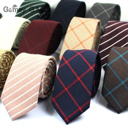 Wholesale Cotton Ties NZ - 2017 Classic 100% Cotton Mens Ties New Design Narrow Neckties 6cm Slim Plaid Ties for Men Formal Business Wedding Party Gravatas