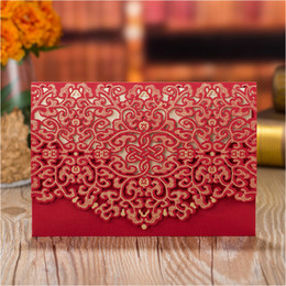 Bridal Invitation Cards Canada - Gold Red Wedding Invitations 50pcs Personalized Printing Laser Cut Bridal Shower Invites Marriage Invitation Cards with Envelope