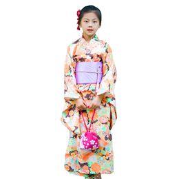 $enCountryForm.capitalKeyWord NZ - Japanese Traditional Girls Elegant Kimono Vintage Print Flower Yukata With Obi Child Festival Gown New Lovely Cosplay Costume