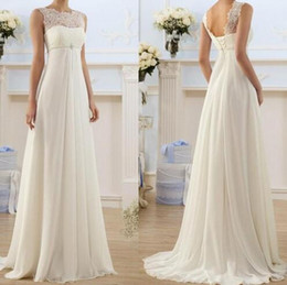 2019 New A Line Capped Sleeveless Empire Waist Floor Length Chiffon Summer  Elegant Sheath Wedding Dresses 18fefd86291a