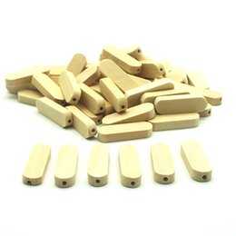 $enCountryForm.capitalKeyWord UK - Semitree 20Pcs Lot 30mm Natural Flat Rectangle Wooden Beads Wood Earrings Charms for DIY Jewelry Findings Making Handicraft