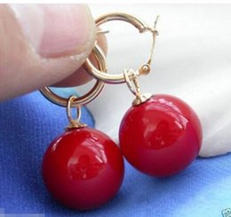 TahiTian pearls 18k online shopping - 14MM KGP Tahitian Coral Red South Sea Shell Pearl Earring AAA