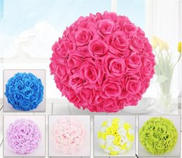 silk wedding pomanders UK - Dropshipping Rose Silk flower ball 13-50 CM Wedding Party Pomander Kissing Decorative artificial Multicolor garden market decoration Flowers