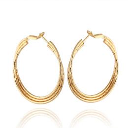 Copper loop earrings online shopping - New Arrival K White Yellow Gold Plated Round Loop Circle Hoop Earrings Fashion Jewelry Bijoux Aros for Women Girls Festive Hot Gift