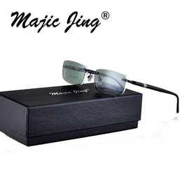 $enCountryForm.capitalKeyWord NZ - wholesale Magic Jing S9091 spring hinge Rimless magnetic clip on sunglasses men polarized clip on sunglasses sunshades sun glasses
