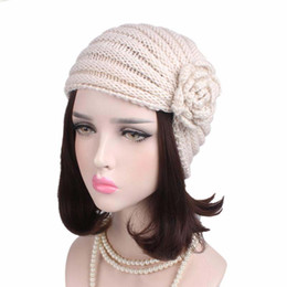 5382260b167 2017 new fashion Ladies Accessory Winter warm women crochet flower Knit  Turban headband Beanie Crochet Headwrap Women Hat Cap