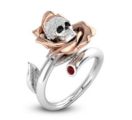 women skull rings UK - Punk Skeleton Rose Flower Finger Ring for Women Female Fashion Jewelry Inlaid Clear CZ Skull Engagement Wedding Rings Nice Gifts