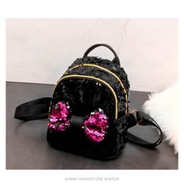 Cute baCkpaCks for College women online shopping - Shinning Bling Sequins Cute Big Butterfly Backpack for Teenager Girls mochila Shoulderbag Women Mini Travel cute Bag