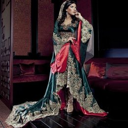 Discount long evening dresses india - India Saudi Arabian robe Long Sleeves Sweetheart Evening Dresses Teal Green With Lace Appliques Muslim Prom Gowns BA9576