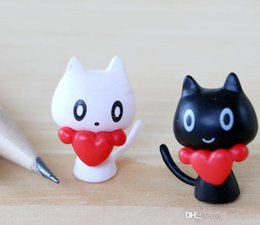 $enCountryForm.capitalKeyWord UK - 2Pcs Mini Cartoon Heart Black White Cat Resin Flatback Figurine Craft Fairy Garden Decoration Miniatures Resins Micro Landscape