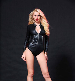 $enCountryForm.capitalKeyWord Australia - Long Sleeve Bodysuit Zipper Latex Sexy Wetlook Catsuit Gothic Faux Leather Rompers Womens Jumpsuit M XL XXL