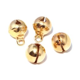 jingles bells UK - High Quality 400Pcs Christmas Party Bell 12mm Golden Jingle Bell with Sound Gold Plated Chrismtas Holiday Ornaments Decoration