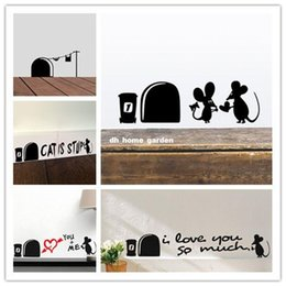 Large mouse waLL stickers online shopping - Funny Love Mouse Hole Wall Stickers For Kids Rooms Wall decals vinyl Mural Art Home decoration Vintage Poster