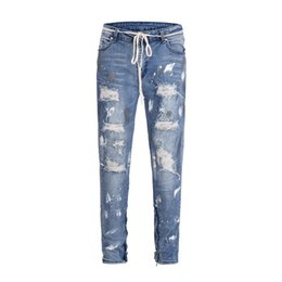 Discount zip jeans men - Distressed Stretch Denim Jeans Kanye west Hiphop Zipped Ankles Drawstring Denim Jeans streetwear Spray Paint
