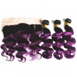 $enCountryForm.capitalKeyWord Australia - New Arrive Purple Ombre Hair With Lace Frontal Peruvian Virgin Hair 3 Bundles With Lace Frontal Two Tone Body Wave Hair With Frontal