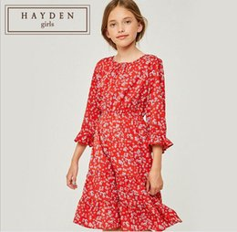f139e100b8803 Girl Flower Dresses Kids Clothing Teenager Princess Long sleeve Dress Junior  Autumn Printed Dress Baby Girl Clothes
