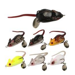 Sea Worms Bait Australia - 3D Eyes Soft Mouse Bait Bells Sound 5cm 10.5g fishing lure Frog Silicon Artificial Set Sea Swim Bait