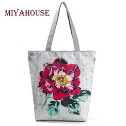 Large Floral Bag Canada - Miyahouse Colorful Floral Printed Tote Handbag Women Daily Use Female Shopping Bag Large Capacity Canvas Shoulder Beach BagY1883107
