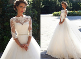 Chinese  Lace Country Wedding Dresses A-Line Cheap Applique With Peals Waist Tulle Sweep Train Long Sleeves Bridal Gowns DH4166 manufacturers