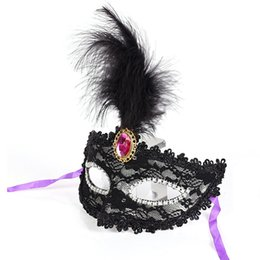 Chinese  Sexy Half Face Mask Women Lady Adult Feather Mask Lace Fringed Party Anonymous Costume Ball Masquerade Gifts Halloween manufacturers