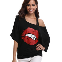 Lips Blouse Black UK - MISS MOLY Summer Black Hip Hop Lip Printed 2 Piece Sets Ladies Lace Blouse Off Shoulder Women Blouse Cotton Transparent Blouses