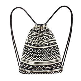 $enCountryForm.capitalKeyWord NZ - Fashion Women Canvas Ethnic Wind Pocket Drawstring Bag Backpack Student School Drawstring Book Bag Shoe Backpack #xqx