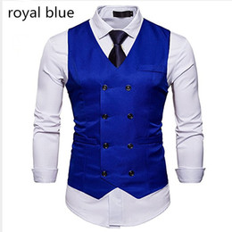 China 2018 setwell royal blue Mens Formal Slim Fit Premium Business Dress Suit Button Down Vests Custom Double Breasted England Style Groom Vests cheap european royal blue dresses suppliers