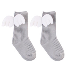 Wholesale Newborn Baby Knee High Socks Angel Wings Pattern Cotton Socks for Children Infant Autumn Winter Warm Leg Warmer