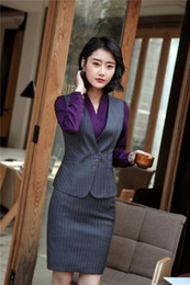 Discount ladies wear blazers - Autumn Winter High Quality Fabric Blazers With 2 Pieces Vest and Skirt For Ladies Work Wear Outfits OL Styles Plus Size