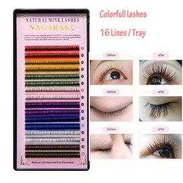 Beauty & Health Beauty Essentials Nagaraku 2 Trays 16rows Macaron 8 Colors Rainbow Colored Eyelash Extension Colour Eyelashes Colorful Eyelash Extension Blue Red
