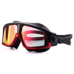 Schwimmbrille Bequeme Silikon Große Rahmen Schwimmen Brille Anti-Fog UV Männer Frauen Schwimmen Maske Wasserdicht im Angebot
