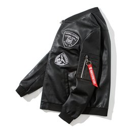 l style flights Canada - New Autumn Style Men's Leather Pu Jacket Motorcycle Self-dressing Korean Youth Fashion Embroidery Logo Flight Suit