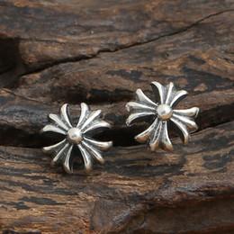 925 sterling silver mens online shopping - Luxury brand new sterling silver jewelry designer earrings American vintage style fashionable cute cross stud women mens earrings