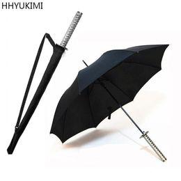 Discount samurai japanese - HHYUKIMI Huge Long Handle Large Windproof Samurai Sword Umbrella Japanese Ninja-like Sun Rain Straight Umbrella Manual O