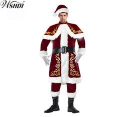 6pcs Mens Deluxe Santa Claus Costume Father Christmas Suit Fancy Dress Adult 8