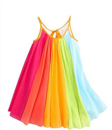 Colorful Baby girls Rainbow dress INS hot sell boutique children's Shoulder-straps rainbow striped skirt cute baby Princess dress H072