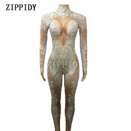 Discount nude women costumes - AB Rhinestones Sparkly Jumpsuit Fashion Sexy Nude Big Stretch Dance Costume One-piece Bodysuit Birthday Outfit Party Leg