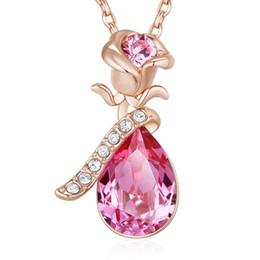 Chinese  Crystals Necklaces Rose Vintage Women Charm Gold Pendant Zircon Pink Blue Sexy Flower Set Elegant Statement manufacturers