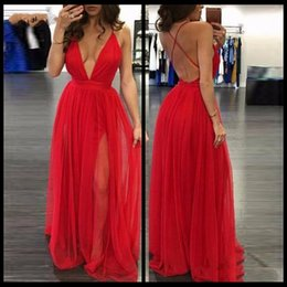 Red Hot Sexy Pictures NZ - 2018 Sexy Prom Dresses Deep V Neck Floor Length Side Split Backless Red Chiffon Formal Evening Party Gowns Hot Sale