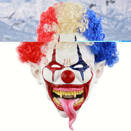 Discount scary adult clown costumes - Halloween Realistic Creepy Ghastful Horrible Scary Tongue Out Clown Mask Masquerade Supplies Party Props Cosplay Costume