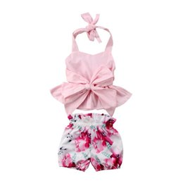 Wholesale 2018 Summer Newborn Baby Girl Big Bow knot Halter Backless Tops Romper Floral Shorts Clothes Fashion Princess