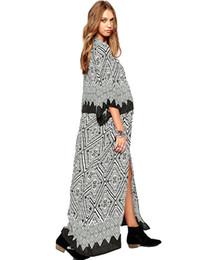 47ef9cd33a60b Women Chiffon Kimono Cardigan Geometric Print Beach Boho Outerwear Summer  Loose Bikini Cover Up Blue Black Saida De Praia 2019