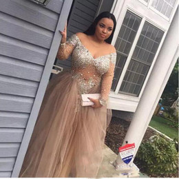 Discount plus size see through dresses bling Sparkly Bling Beading Crystals Plus Size Prom Dresses Sexy See Through Champagne Tulle Long Sleeves Evening Gowns Real Custom Made