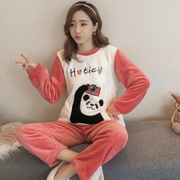 72147c18d Thick Warm Flannel Pajama Set for Women Winter Long Sleeve Coral Velvet  Pyjama Girl Cute Cartoon Sleepwear Homewear Pijama Mujer