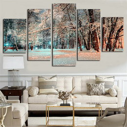 Art Canvas Prints Australia - Wall Art Pictures Framework Poster 5 Pieces Snow Woods Landscape Canvas Painting Modern HD Print For Living Room Home Decoration