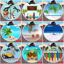 Venta al por mayor de 59 pulgadas de microfibra toalla de playa redonda respetuoso del medio ambiente 3D impresa borla toalla para niños adultos acampar manta manta decoración para el hogar pared tapiz